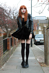 Olivia Emily - Velvet Skater Dress, Cow Faux Leather Bomber, Docs - Death of a Demographic