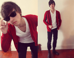 Zac W. - Red Cardigan, Plain White Tee, Black Skinny Jeans, Boots - What It Is