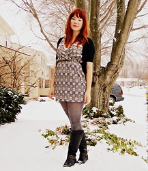 Jjanga Horne - Modcloth Checker It Out Dress, Mossino Black Mini Cardigan, Mossino Grey Opaque Tights, Charlotte Russe Black Studded Boots - Studded