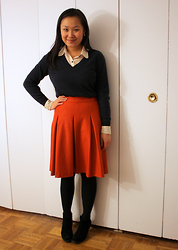 Mary G - Banana Republic Sweater, American Apparel Polka Dot Blouse, Indivi Pleated Skirt, Cheap Monday Ankle Boots - Pleated Orange Skirt