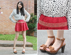 Sophie Ramos - Forever 21 Red Skirt, Glint Of Glam Polkadot Top, Stacatto Brown Heels, Melty Kiss Black Beaded Bracelet - Kung Hei Fat Choi!