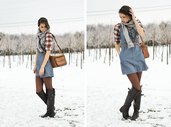 Josie Michelle - Target Chambray Dress, Vintage Photographers Bag, J. Crew Skinny Belt, Thrifted Flannel Shirt, Scarf, Wanted Boots - Winter Arrived