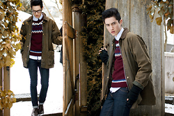 Nigel Lew - Oxblood Knit Pullover, Vintage Trapper's Jacket, Cheap Monday Skinnies - Looks Like Immunity