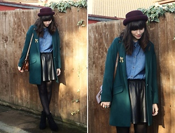 Sarah B - Forest Green Boyf Coat, Denim Shirt - Huiagsfyagslf
