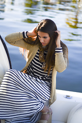 Eugy Alliegro - Forever 21 Stripe Maxi Dress, Cotton Stripe Top, Goodwill Gold Cardigan, Steve Madden Wedges - Only the ocean and YOU <3