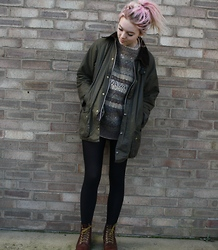 Layna Myhra - Charity Jumper, Armani Exchange Wax Barbour, Brown Dm's - BUNNYMEN