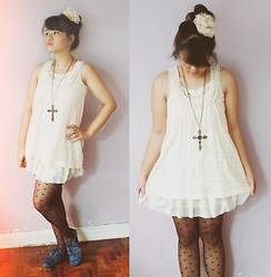 Cerisse Salvador - Cream Flower Lace Clip, White Lace Dress, Forever 21 Brass Cross Necklace, Accessorize Hearts Tights, Artwork Blue Print Oxfords - Laces and hearts