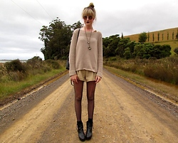 Amy Dunn - Thrifted Crochet Knit Jumper, Highwaisted Shorts, Topshop Wedges, Topshop Sunglasses - The golden age