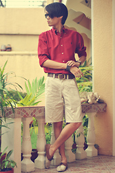 Gerry Robinson - Floral Brown Flats, Black Cuff Bracelet, Aldo Brown Leather Watch, Ralph Lauren Red Button Down, Ray Ban Black Wayfares, Thrifted Brown Leather Belt, United Colors Of Benetton Khaki Shorts - Waiting