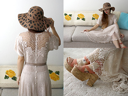 Toshiko S. - Ebay Vintage Crochet Knit Dress, Alameda Flea Market Vintage Wool Floppy Hat, Hong Kong Chunky Strappy Shoes - Crochet Rose