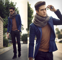 Adam Gallagher - Zara Blazer, American Apparel Sweater, Zara Scarf - Sapphire & tigers eye