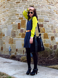 Cristina Zaragoza - Industry Neon Sheer Blouse, Tory Burch Pink And Blue Striped Belt, Ray Ban Aviator Sunglasses, Tory Burch Nico Cross Body Bag, Forever 21 Clogs - Pops Of Neon