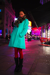 Chia Wen - Habitat Fake Fur Scarf, Oasis Dolly Coat, Calzedonia Red Tights, Primark Boots - Chinese New Year's Eve