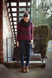 Kelly M. - Gap Circle Scarf, Gap Cable Sweater, Old Navy Suede Wedges - Cozy for winter
