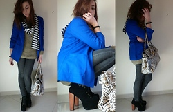 Giada Musumeci - Jeffrey Campbell Lita, H&M Blue Electric Jacket, Zara Black Denim Leggins - Everyday!