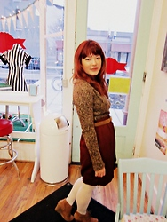 Jjanga Horne - Gap Brown Wrap Sweater, Handmade Maroon Wrap Skirt, Unknown Brown Suede Belt, Mossino White Opaque Stockings, White Mountain Brown Laceup Wedge Booties - Cupcakes Galore!