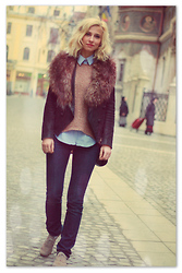 Dana Rogoz - Andre Shoes, Zara Shirt, H&M Fur Collar, Circus&Co Leather Jacket, Mango Jeans - Just dreaming ...