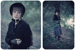Jane Eyre - Found On A Flea Market Victorian Black Hat, Antik Batik Black Shawl, Naf Long Grey Dress - Jane Eyre