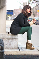 Delmy Rivera - Zara Shapeless Jacket, American Apparel Skinny Pants, Nine West Suede Wedges - Green Pants