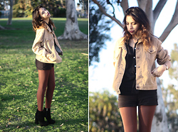 Alana G - Levi's® Vintage Tan Corduroy Jacket, American Apparel Chiffon Button Up, Tap Shorts, Jemmas - Noir Tapes