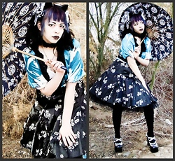 Batty Von Normal - Rampage Satin Floral Skirt, Blue Oriental Wrap Shirt, Black Petticoat - Chinese New Year