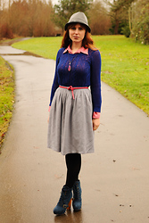 Stacey L - Fred Meyer Gray Hat, Anthropologie Blue Sweater, Thrifted Gray Skirt, Steve Madden Blue Boots - Pinks and blues