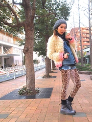 Mayu * - Sacred Heart Warriors Fur Coat, Wc Leggings, Dr. Martens Boots, H&M Knit Cap - Denim on Denim with Leopard
