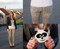 Lorna Burford - Current/Elliott Jeans, River Island Purse, Topshop Jacket, Topshop Shoes - Grey Leopard With A Hint Of Panda