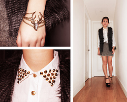 Bowie M - Forever 21 Fur Vest, Cotton On Pumps, Thrifted Skirt, Ebay Bracelet, Diy Studded Blouse - Studded Collar & Tweed
