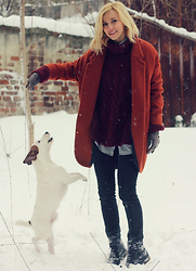 Dana Rogoz - H&M Coat, Zara Jumper, Zara Shirt, Accessorize Gloves, All Saints Jeans, Zara Boots - My fashionable dog