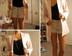 M. Satsuki - Zara Light Pink Blazer, Urban Outfitters Light Wash Denim High Waisted Shorts, Necklace Made Out Of Earring - I Love My Pink Blazer!