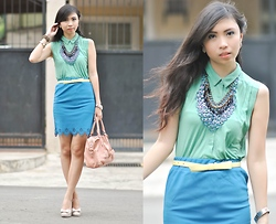 Gillian Uang - Topshop Green Collared Top, Detail Bydetails Blue Scalloped Skirt, Macy's Nude Pumps, Kid's Department Yellow Belt, Thriftgasm Ethnic Necklace, Island Girl Blue Circular Necklace - Dad's Choice
