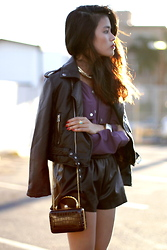 Olivia Lopez - Givenchy Gold Collar, Nasty Gal Jacket, D.Ra Blouse, Romwe Shorts - Dra Giveaway!