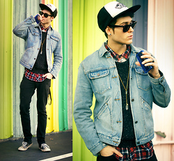 Adam Gallagher - Vans Hats, Jean Jacket, American Apparel Sweater, Necklace - Colors & cassettes