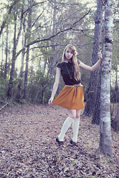 Mariah Nicole - Handmade Peter Pan Collar Shirt, Forever 21 Skirt, Stockings, Brown Oxfords - Bambi