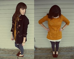 Peeky Lou - Anthropologie Sweater, Joe's Jeans Jeggings, Forever 21 Coat, Thrifted Loafers, H&M Collard Shirt - I Loaf You!