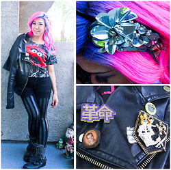 Stephiee Nguyen - Hellowars Chewbacca Kitty, Seoul, Korea Pirate Lego Pin, Loschy Designs Will Arnett Pin, Borrowed From Friend Lace Ruffled Shorts, H Mart Korean Supermarket Disco Flower Headband, Forever 21 Animal Top, Forever 21 Leather Jacket, Costume Dept Hologram Striped Leggings, Jeffrey Campbell Ruffle Leather Boots, 6%Dokidoki Revolution Pin - Wild like an ANIMAL