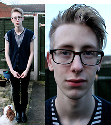 Ben Gibbs - Cardigan Vest, Striped Tee, Black Skinnys, Chelsea Boots - What Winter?