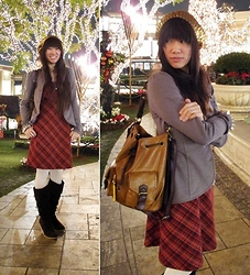 Josephine Chang - Forever 21 Gold Sequin Beanie, Target Grey Jacket, Forever 21 Red Plaid Dress, Forever 21 White Tights, Forever 21 Brown Knee High Wedges - Somehow, Someday, Somewhere
