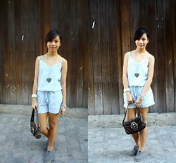 Aoi Ue Imperial - Bayo Blue Romper, Tltsn Gray Brogues, Coach Brown Shoulder Bag - Empyrean