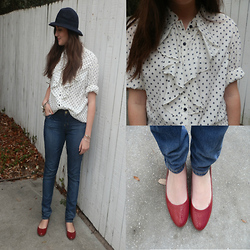 Maddy C. - Forever 21 Forever21 Hat, Vintage Blouse, Apple Bottom Jeans, Target Flats - Red Flats
