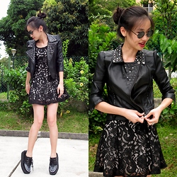 Uli C - Cotton On Leather Jacket, Lace Dress, Underground Inspired Creepers, Far East Plaza Round Shades - Hello, creepers