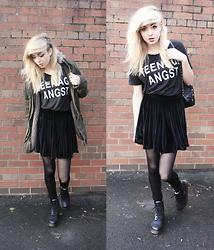 Bethan M - American Apparel Velvet Skirt, Topshop Top, Gap Parka, Dr. Martens Dr, Topshop Bag, Primark Tights - Teenage Angst