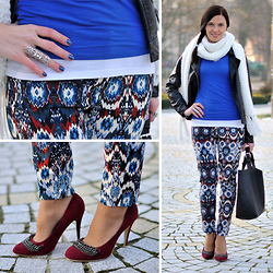 Renata M.. - Zara Pants, Heels, Bag, New Yorker Scarf, Glitter Ring, Primark Jacket - Navajo pants and burgundy heels