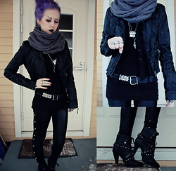 Rosa Pekkanen - Diy, H&M Jacket, Spiritstore Boots, Gina Tricot Three Finger Ring, Daddy's - Leather, baby