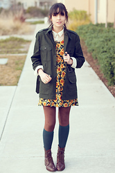 Danielle Payton - Urban Outfitters Jacket, H&M Lace Button Up, Secondhand Dress, American Apparel Velvet Legging, Madewell Boots - Winter Flowers