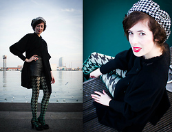 Amaia Maiu - Vintage Shorts, Julia Mogwitz Beret, Woolford Tights, Paul Smith Coat - Double houndstooth