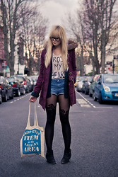 Ingrid O - River Island White Type Top, Miss Selfridge Purple Parka, Topshop Flower Tights, Topshop Denim Shorts, Miss Selfridge Black Ankle Boots, Gio Goi Glasses - Cross my heart..