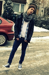 Felix S - H&M Hat, Converse Chucks, Cheap Monday Jeans, Zara Jacket, H&M Basic, Cos Shirt, H&M Scarf - BLUE