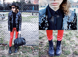 Jade Taylor-Allred - Dr. Martens Boots, Helmut Lang Doctors Bag, Ray Ban Wayfarer Sunglasses, Mpd Suede Hat, Hugo Boss Gifted Sequin Jacket, Zara Cropped Blazer/Vest, American Apparel Mesh Collared Shirt, Silence + Noise Leather Pants - Red leather, couldn't be better